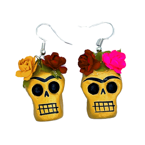 Handmade Earrings - Frida Head of Flowers