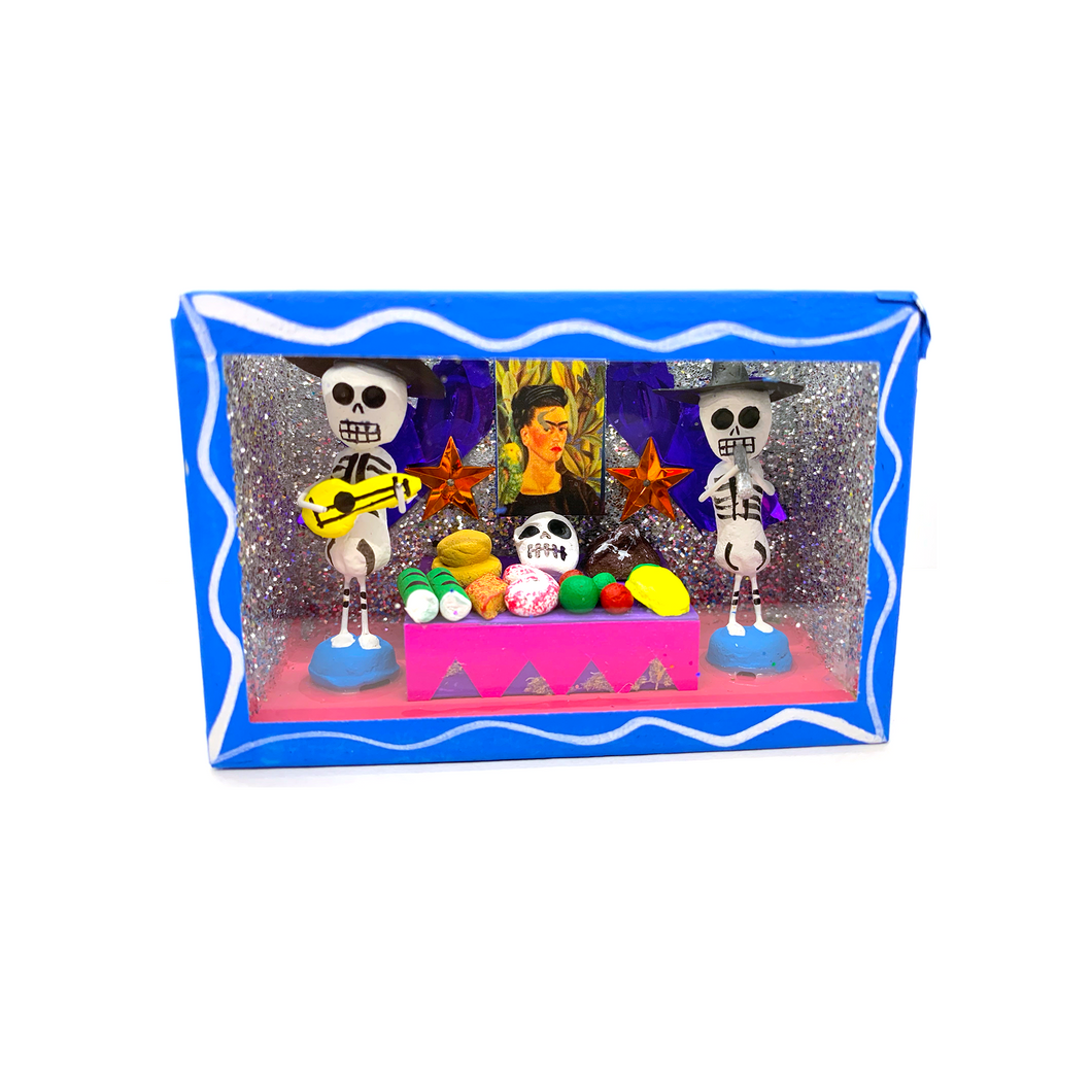 Handmade Shadow Box Nicho - Calaca / Skeleton Ofrenda