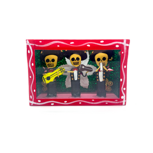Handmade Window Shadow Box Niche  - Tres Mariachis