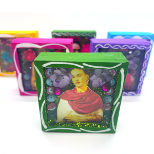 Handmade Square Shadow Box Niche - Frida Photo Magnet