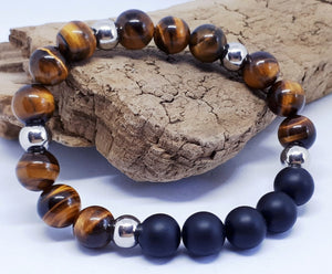 JEWELERY - MEN'S BRACELET, Tiger's eye, Onyx and stainless steel - Carolle Raymond (Caray) - 15% discount code CARAY15