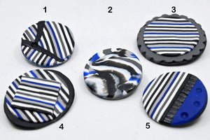 POLYMER JEWELERY, Unique brooches of variable shapes - Stripe series, Carole Charron-Gagnon
