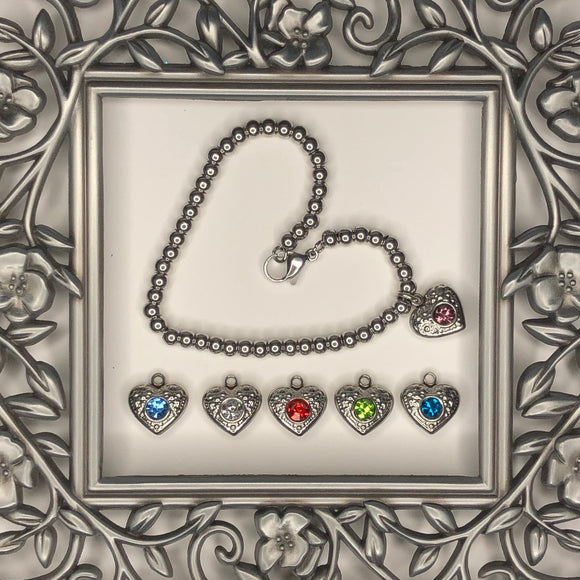 JEWELERY - LOVE and FRIENDSHIP BRACELET with heart and crystals, Céline Larivière (Click on the image to see the variations)