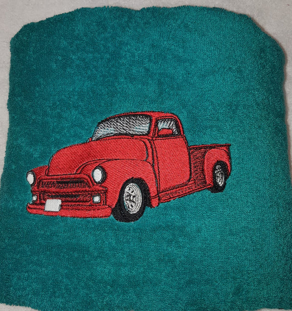 BATH TOWEL for Child, Teen or Adult with truck embroidery, Marcelle Lévesque