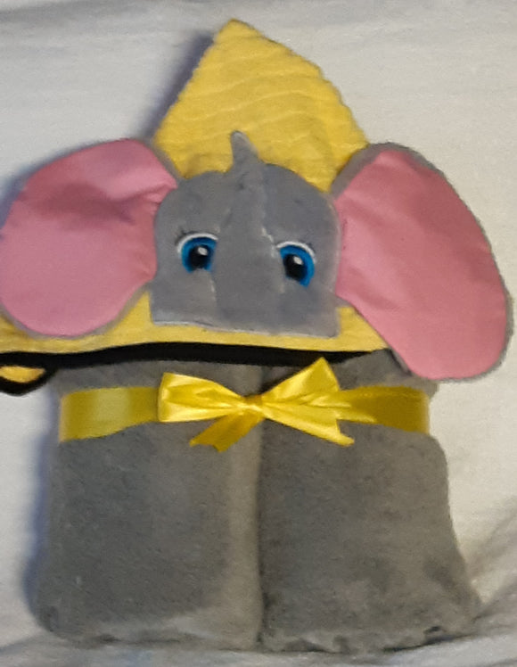 CHILDREN'S HOODED TOWEL (ELEPHANT PATTERN), Gray-Pink-Yellow, Marcelle Lévesque