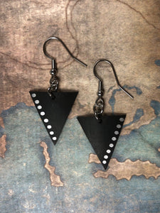 EARRINGS `` inner tube '' bicycle in TRIANGLES and small silver dots - Céline Larivière