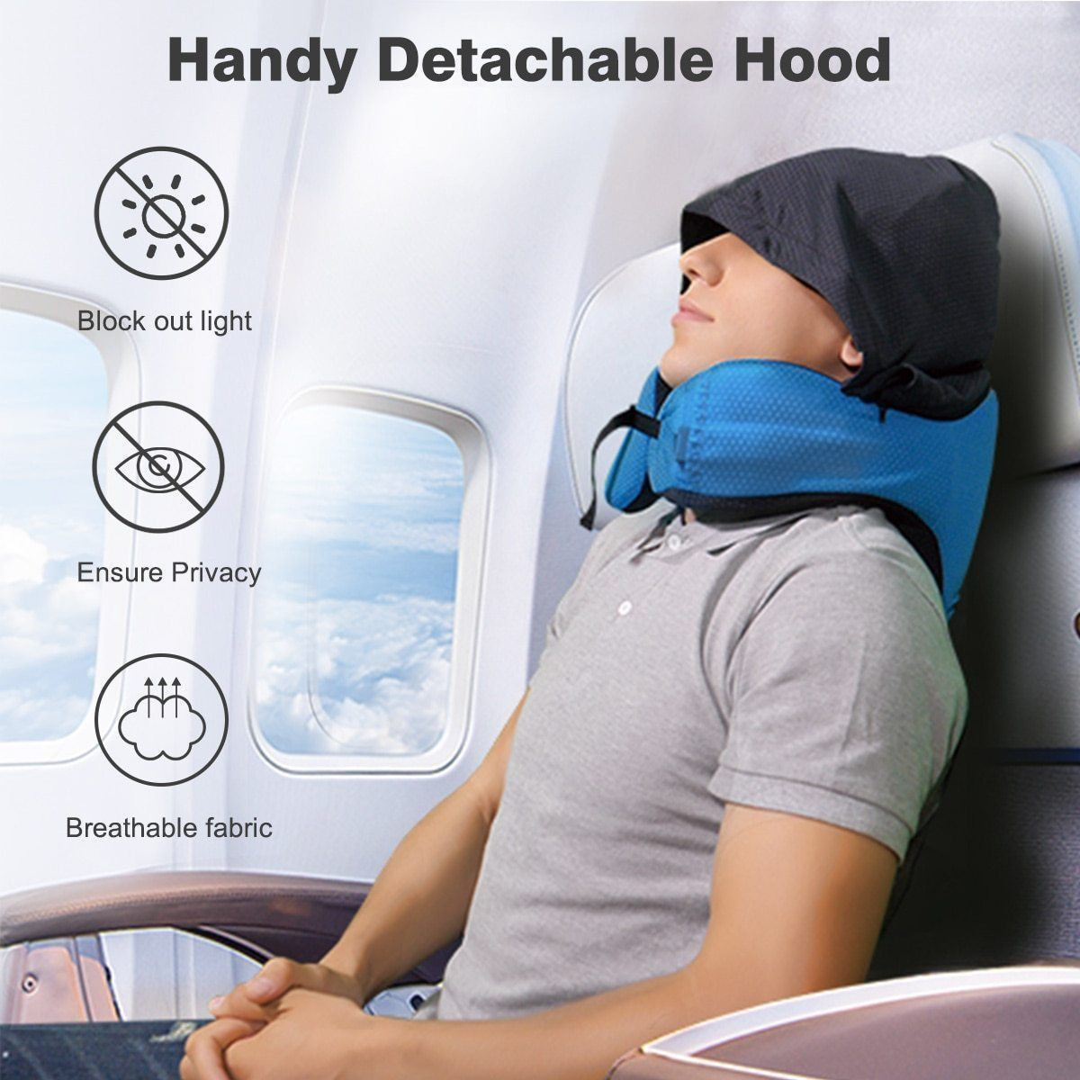Memory Foam Travel Pillow with Hood