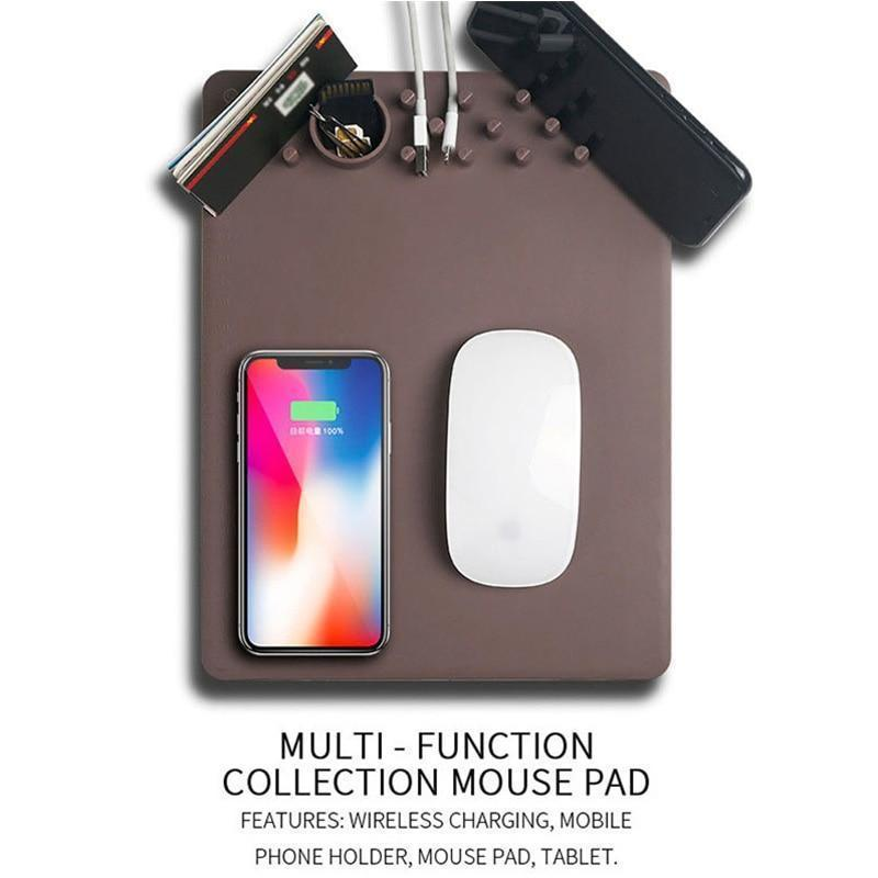 Wireless Charging Mouse Pad and Gadget Organizer
