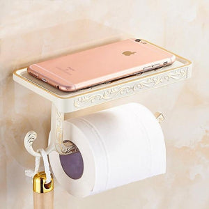 Antique Toilet Paper Holder with Mobile Phone Shelf