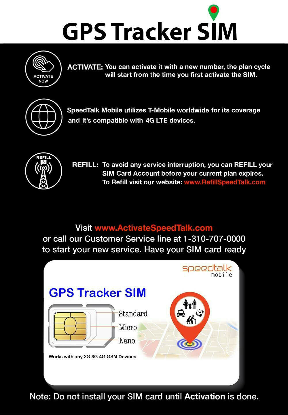 GPS Tracker SIM Card 3-IN-1 - No Contract For 4G Devices - Global Coverage