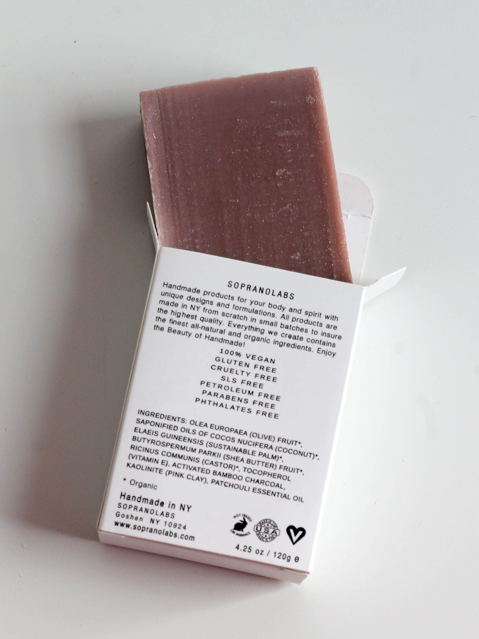 SOPRANO LABS PATCHOULI PINK CLAY SOAP