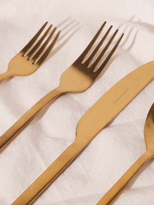 HUDSON WILDER APSEL MATTE GOLD FLATWARE SET