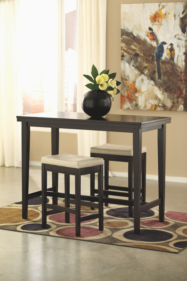 Kimonte - Dark Brown - 3 Pc. - RECT DRM Counter Table & 2 UPH Barstools