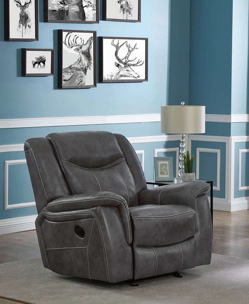 Conrad Motion Collection - Grey - Conrad Upholstered Motion Glider Recliner Grey