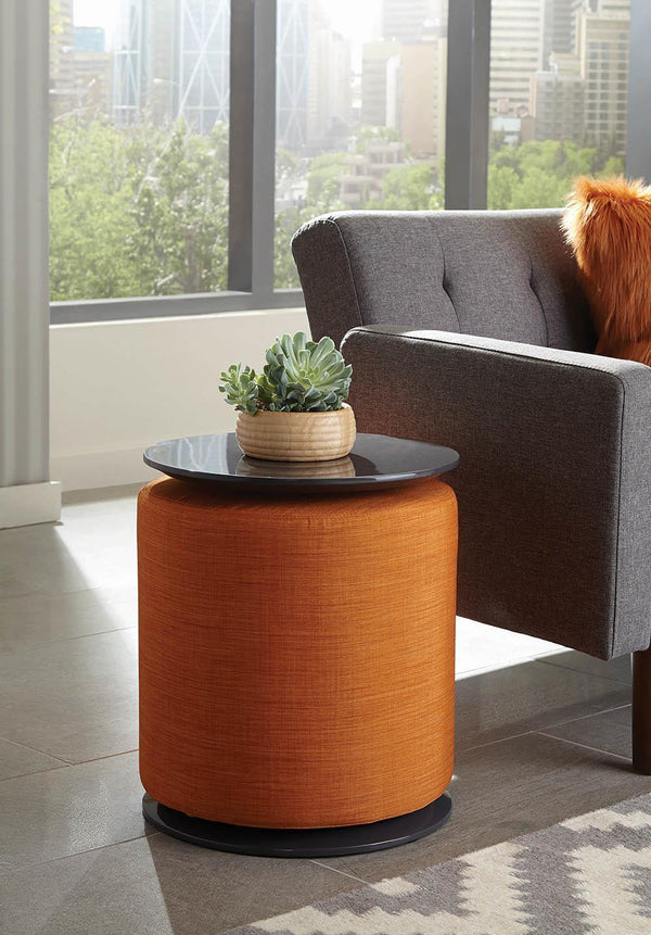 Orange - Round Accent Table With Ottoman Orange
