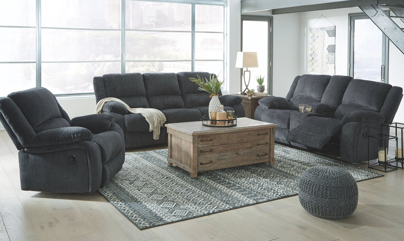 Draycoll - Slate - REC Sofa, DBL REC Loveseat with Console & Rocker Recliner