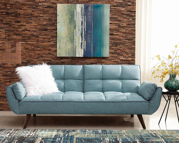 Blue - Caufield Biscuit-tufted Sofa Bed Turquoise Blue