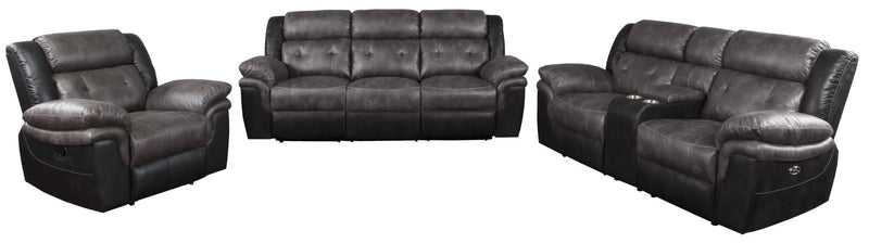 Charcoal / Black - Saybrook Tufted Cushion Power Loveseat Charcoal And Black