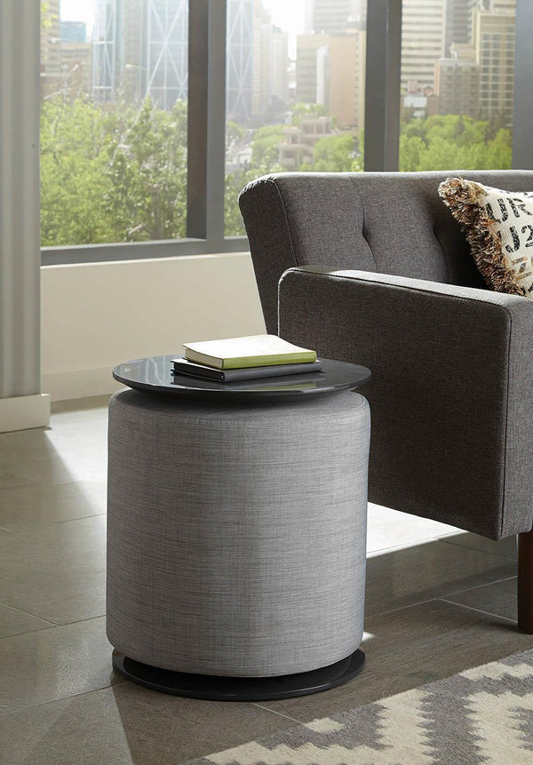 Light Grey - Round Accent Table With Ottoman Grey