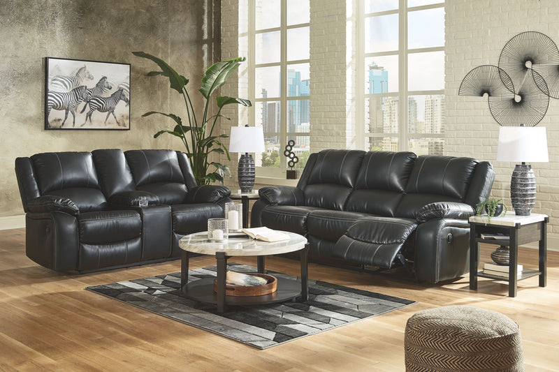 Calderwell - Black - 5 Pc. - Reclining Sofa, Double Reclining Loveseat with Console, Janilly Cocktail Table, End Table, Chair Side End Table