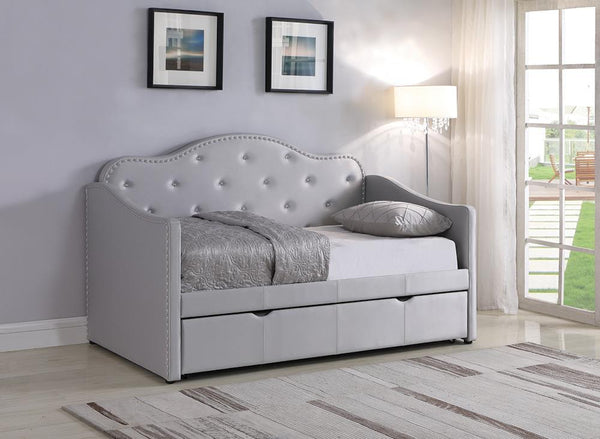 Twin Daybed With Trundle - Light Grey - Upholstered Twin Daybed With Trundle Pearlescent Grey