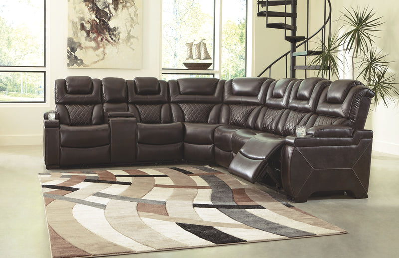 Warnerton - Chocolate - LAF REC PWR Loveseat with Console, Wedge & RAF REC PWR Sofa with Console Sectional