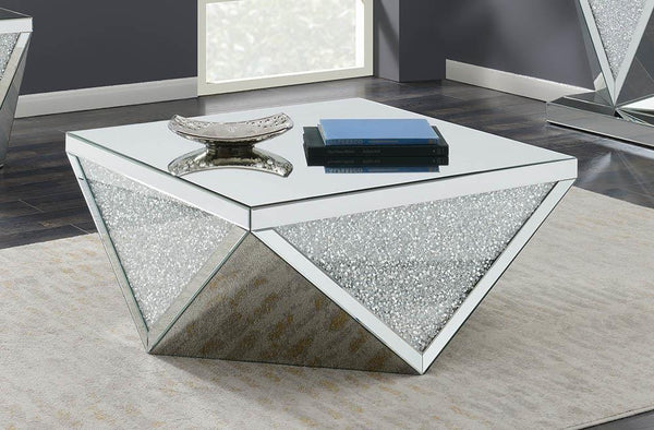 Square Coffee Table With Triangle Detailing Silver And Clear Mirror