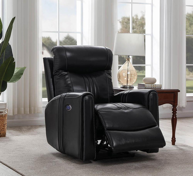Living Room : Power Recliner - Black - Cushion Back Power^3 Recliner Black