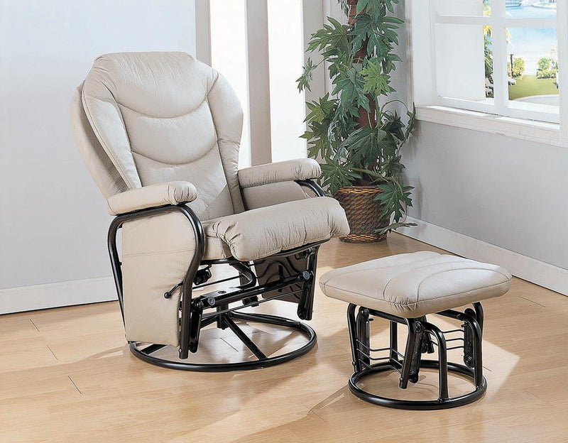 Living Room : Gliders - Beige - Upholstered Glider Recliner With Ottoman Beige And Black