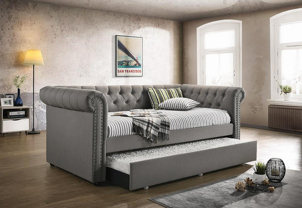 Kepner Daybed - Grey - Kepner Tufted Upholstered Daybed Grey With Trundle
