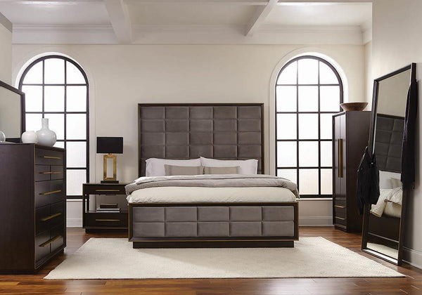 Luddington Collection - Grey - Durango California King Upholstered Bed Smoked Peppercorn And Grey