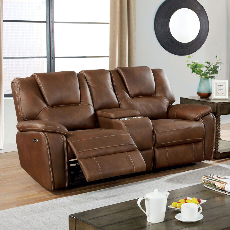 Ffion - Power Loveseat - Brown