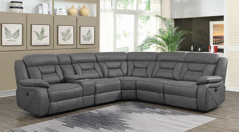 Higgins Motion Collection - Grey - Higgins Four-piece Upholstered Power Sectional Grey