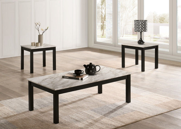 Cecere - 3 Pc. Table Set w/ Faux Marble Top - White