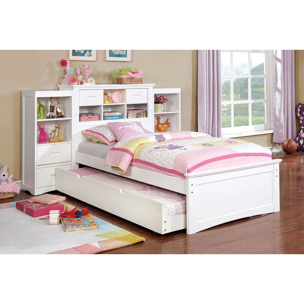 PEARLAND - Twin Bed w/ 2 Book Cases - White