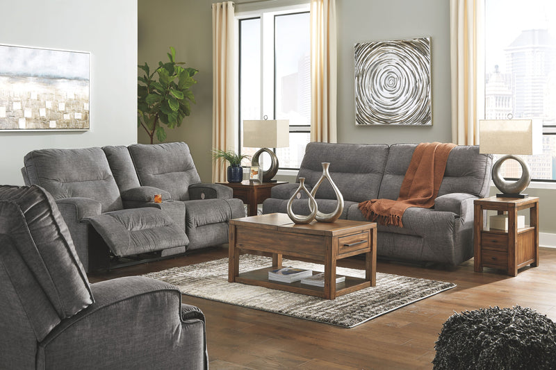 Coombs - Charcoal - 2 Seat REC Sofa, DBL REC Loveseat with Console & Wide Seat Recliner