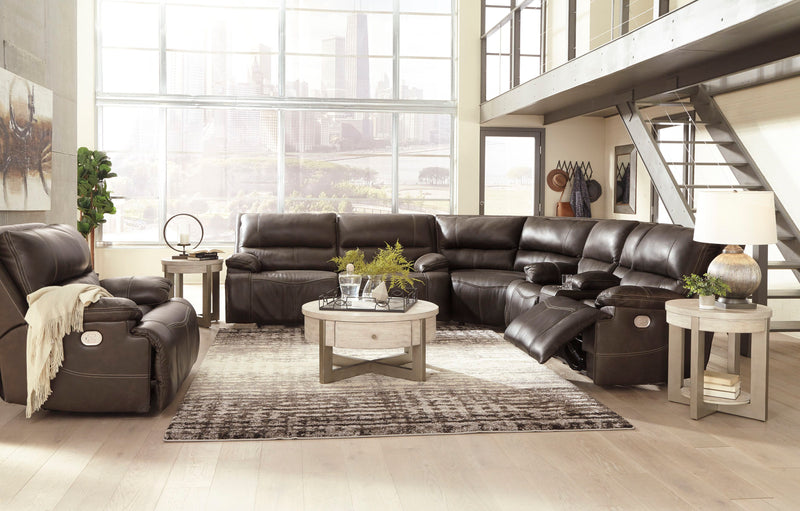 Ricmen - Walnut - 2 Seat PWR REC Sofa ADJ HDRST, Wedge, PWR REC Loveseat with ADJ HDRST Sectional & Wide Seat PWR Recliner