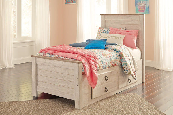 Willowton - Whitewash - Twin Panel Bed with 2 Storage Drawers