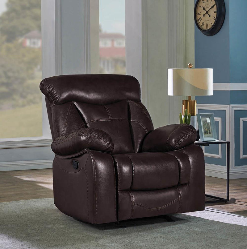 Zimmerman Motion Collection - Dark Brown - Zimmerman Pillow Top Arm Glider Recliner Dark Brown