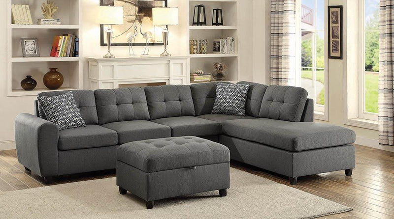 Stonenesse Sectional - Grey - Stonenesse Tufted Storage Ottoman Grey