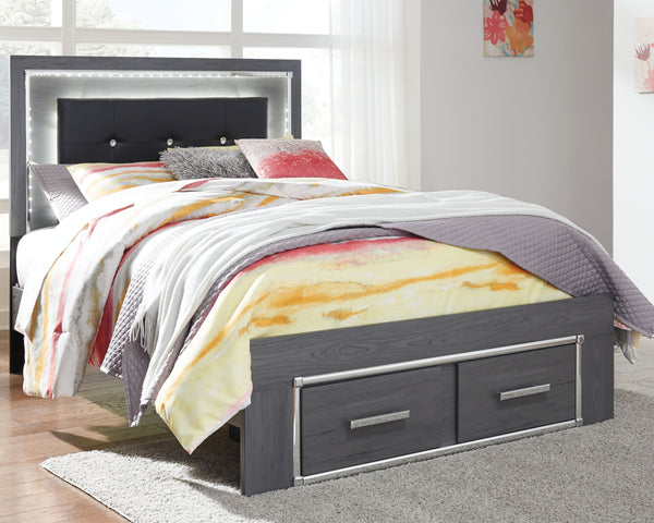 Lodanna - Gray - Full Panel Bed with 2 Storage Drawers