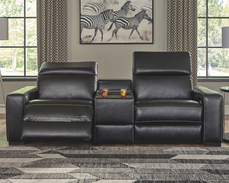 Mantonya - Midnight - LAF Zero Wall PWR Recliner, Console with Storage & RAF Zero Wall PWR Recliner Sectional