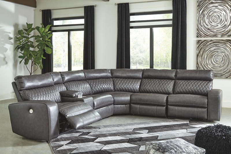 Samperstone - Gray - LAF Zero Wall PWR Recliner, Console with Storage, Armless Recliner, Wedge, Armless Chair & RAF Zero Wall PWR Recliner Sectional