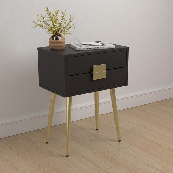Rectangle Accent Table With Usb Port Cappuccino And Matte Brass