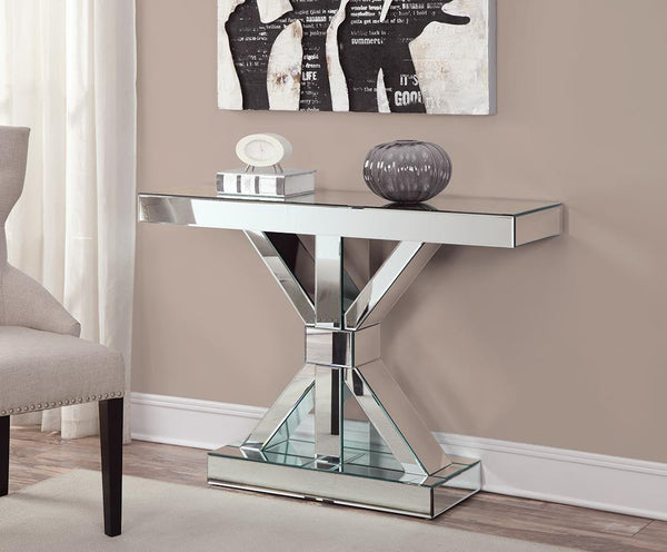 Reventlow X-shaped Base Console Table Clear Mirror
