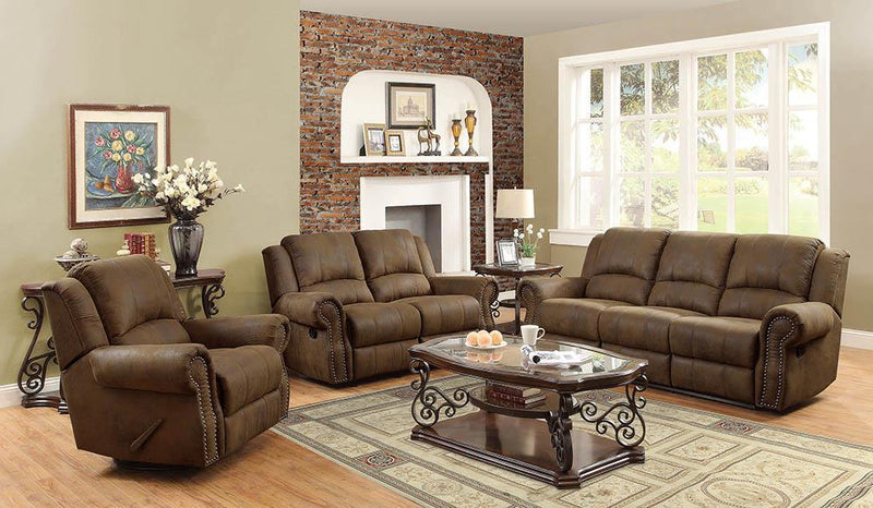 Sir Rawlinson Motion Collection - Buckskin Brown - Sir Rawlinson Rolled Arm Glider Loveseat With Nailhead Trim Buckskin Brown