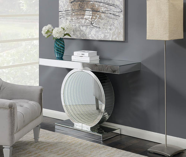 Rectangular Console Table With Circular Base Clear Mirror