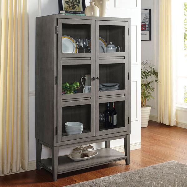 Marla - Curio Cabinet w/ 5mm Tempered Glass - Gray