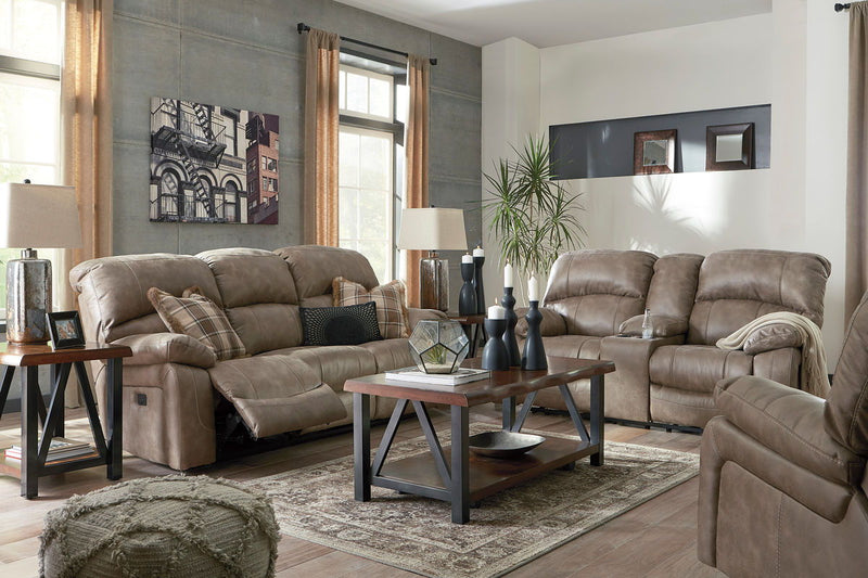 Dunwell - Driftwood - PWR REC Sofa with ADJ HDRST, PWR REC Loveseat with CON/ADJ HDRST & PWR Rocker REC with ADJ Headrest