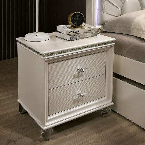 Allie - Night Stand - Pearl White